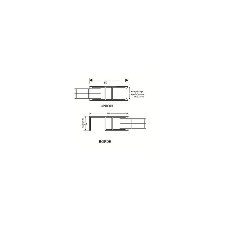 PERFIL H ALUMINIO PARA PC CELULAR 32mm